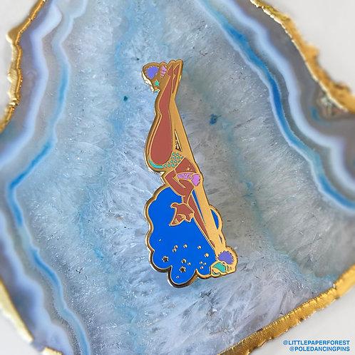 Mermaid (Blue Hair) Pole Dancing Gold Enamel Pin