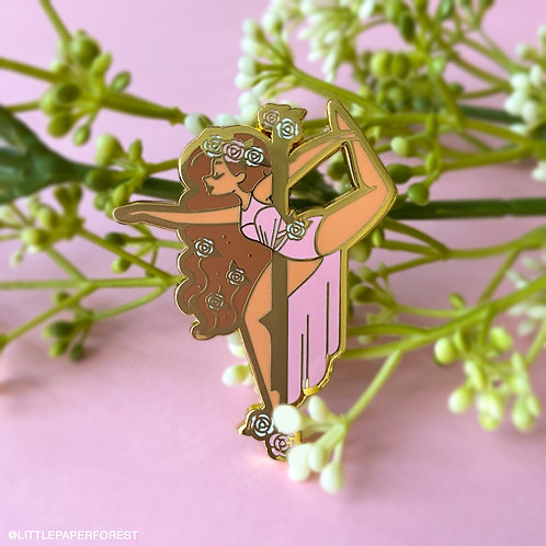 Stag (Pink) Pole Dancing Gold Enamel Pin