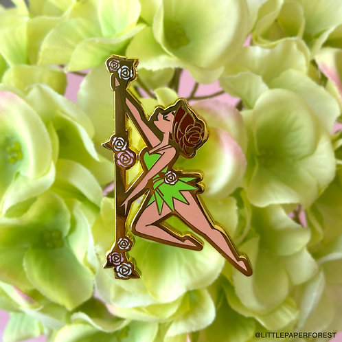 Tinkerbell (Brunette) Pole Dancing Gold Enamel Pin