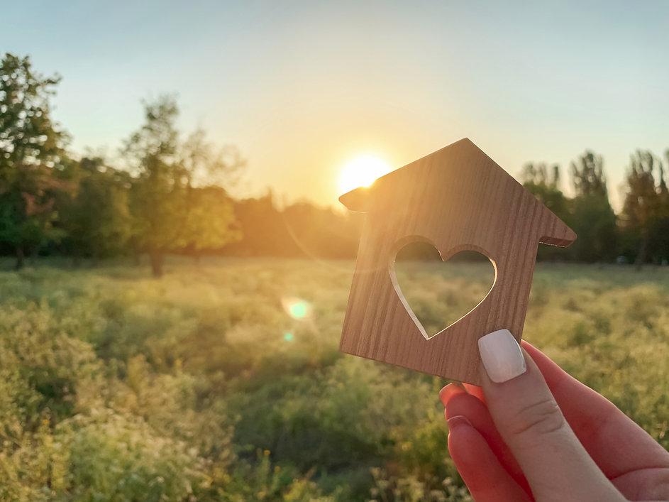 house-heart-sunset-nature-miniature-home