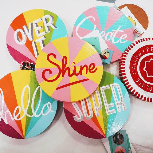 Round & rainbow handpainted signs 15cm round