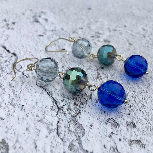 Cut glass long drop earrings