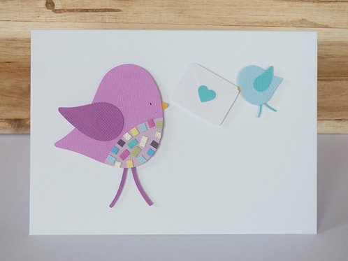 Birds Mother's Day Handcrafted Greetings Card