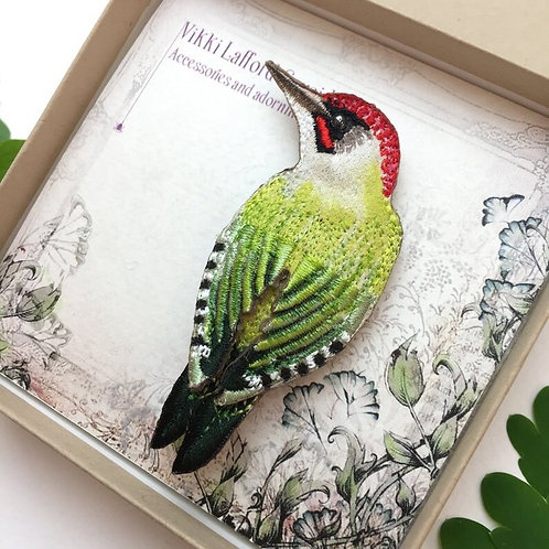 Embroidered Woodpecker Brooch