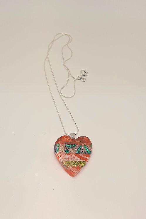 Small Orange Fused Glass Heart Pendant