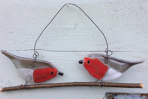 2 fused glass robins on a twig