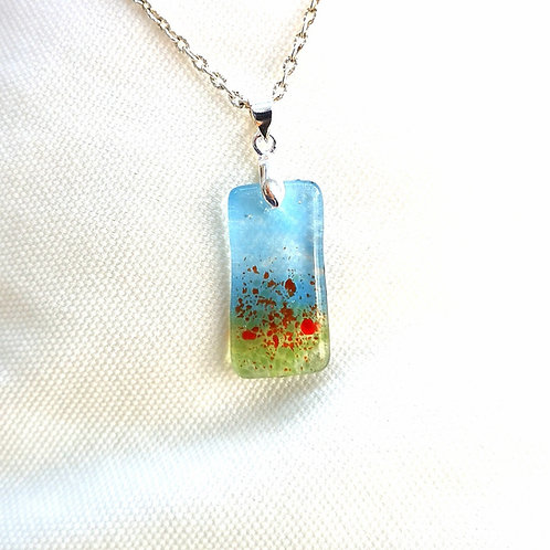 Fused glass poppy meadow pendant and chain