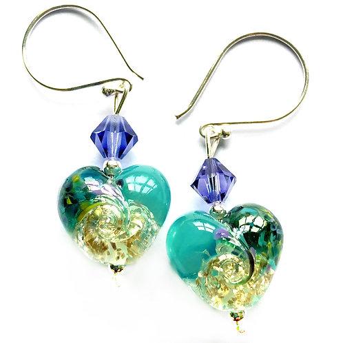 Sterling Silver Lampwork Glass Heart Earrings