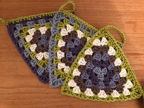 Crocheted pennant bunting