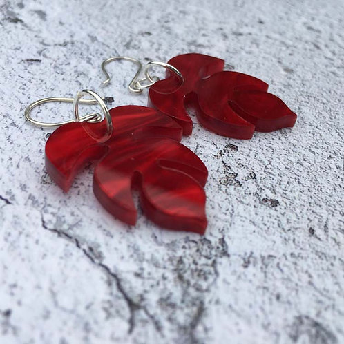 Red shimmer perspex earrings
