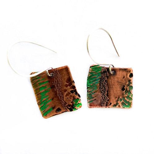 Handmade Copper Gin Still Earrings - Squares
