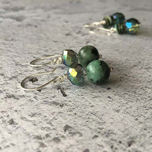 Semi precious beaded earrings on sterling silver