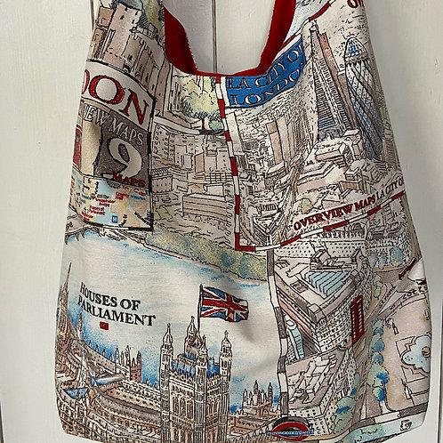 London Map Print Shoulder/Crossbody Tote Bag