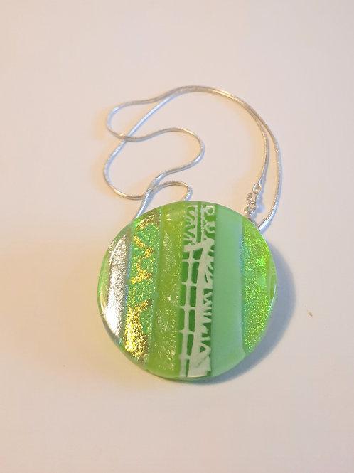 Green Decoupage round pendant