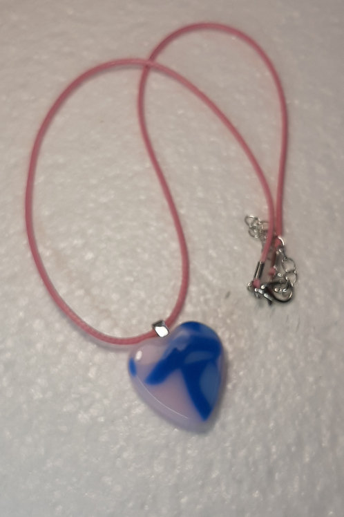 Pink and blue heart shaped pendant