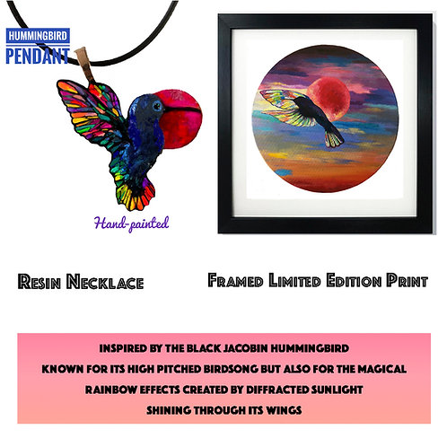 Hummingbird and Sunset Necklace and Print
