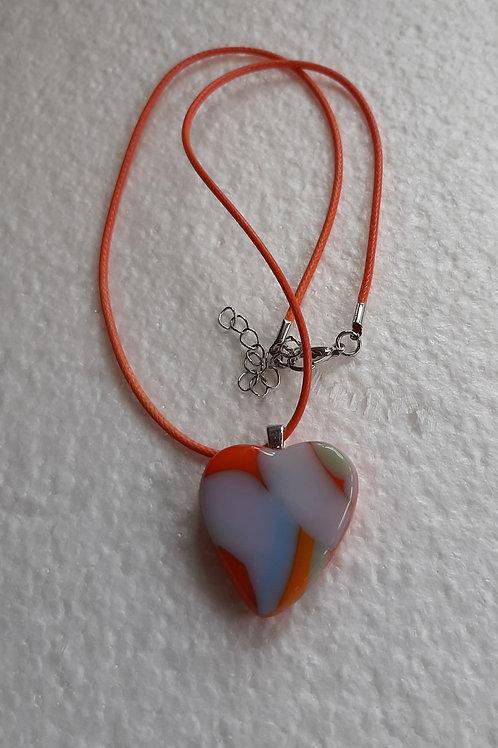 Orange and White Heart Shaped pendant