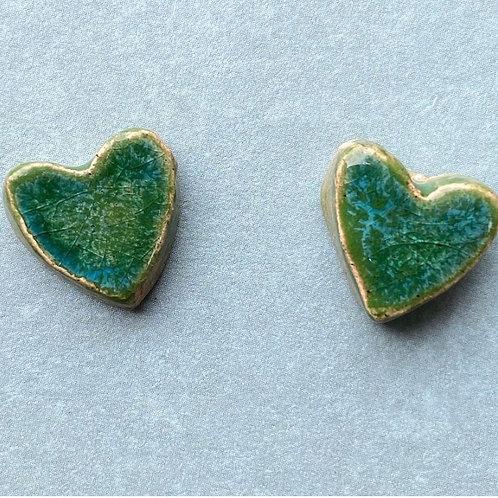 Ceramic heart stud earrings