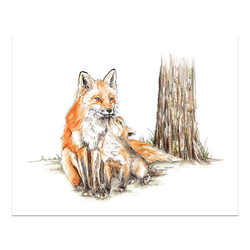 Fox & Pup Print
