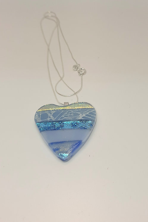 Large Dusty Blue Glass Heart Pendant