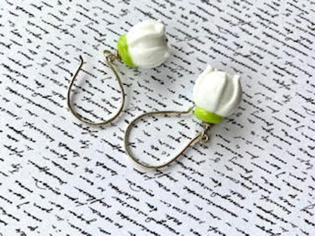 Glass snow drop earrings finished with sterling silver ear wires