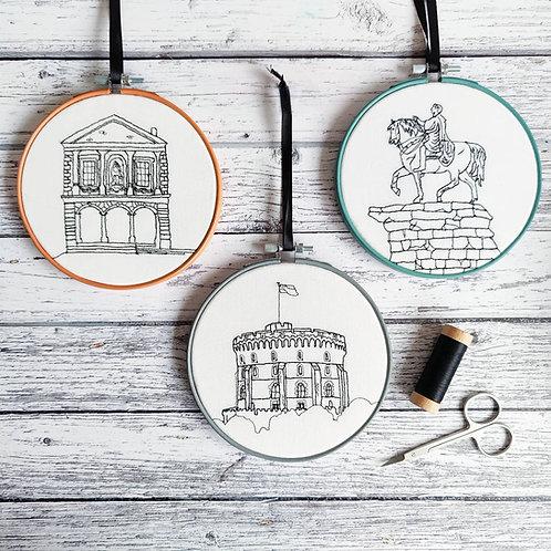 Freehand embroidered Windsor Landmark Hoops