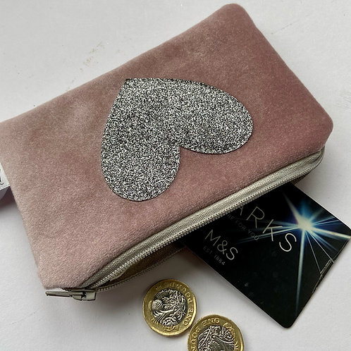 Sparkle Heart Purse in Dusty Pink Velvet