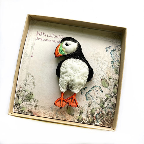 Handmade Embroidered Puffin Brooch