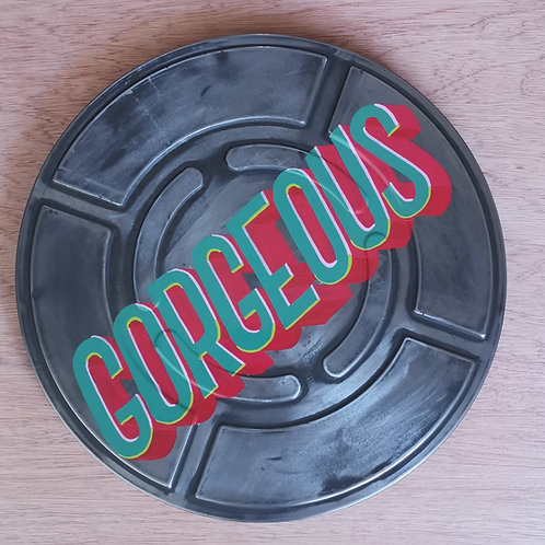 """""""Gorgeous"""" hand-painted vintage film can"""