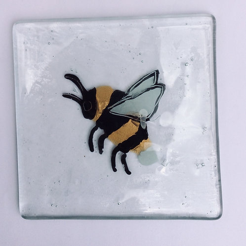 Fused glass bee coaster