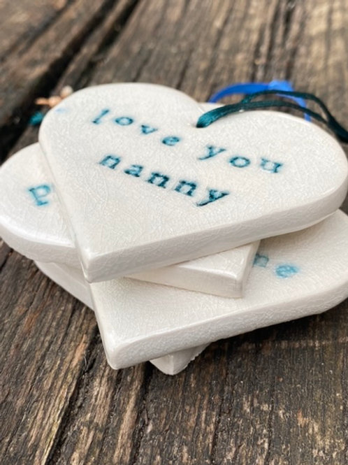 Ceramic Hearts with Words
