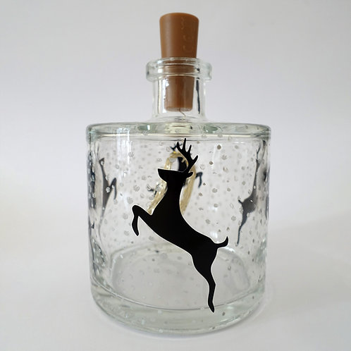 """Beautiful, hand painted """"Leaping Reindeer"""" Light Bottle"""