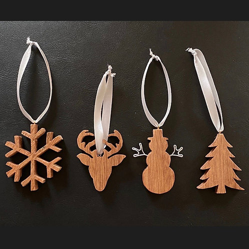 Wooden hanging christmas decorations