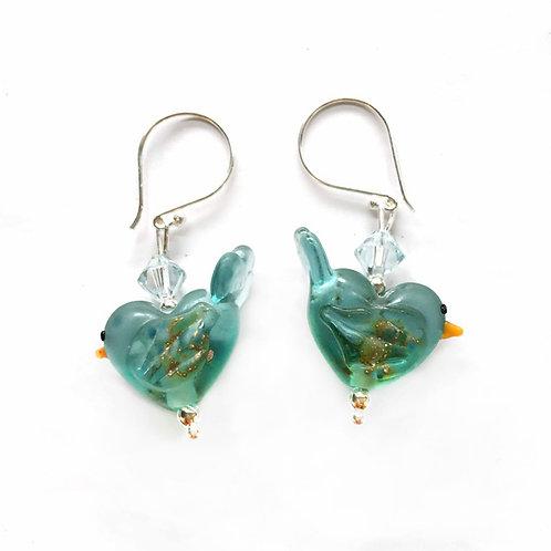 Lampwork Glass Bird Earrings
