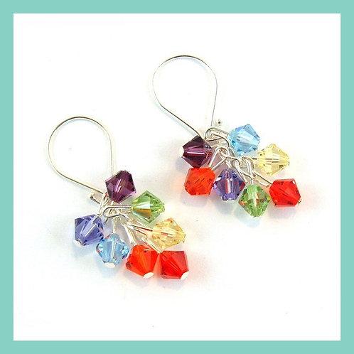 Swarovski Crystal Rainbow Cluster Earrings