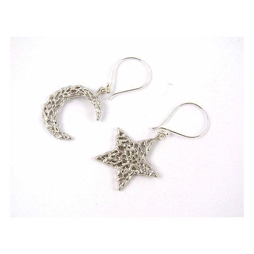 Sterling Silver Moon & Star Earrings