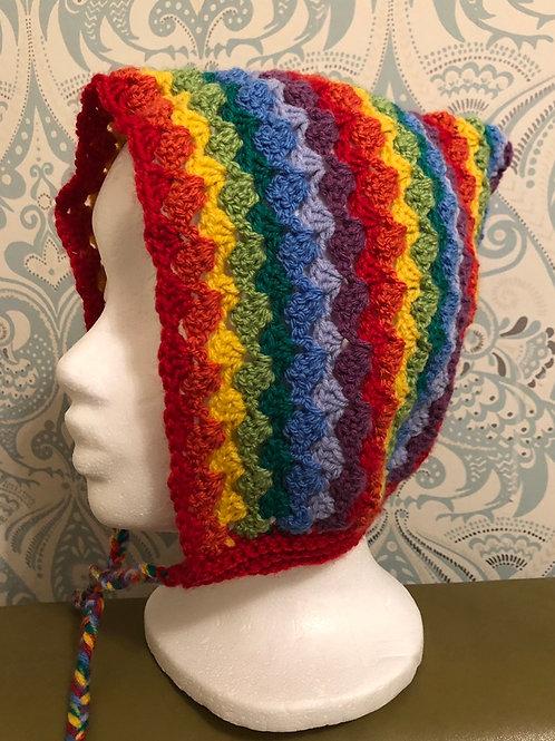 Crocheted Rainbow Pixie Hat