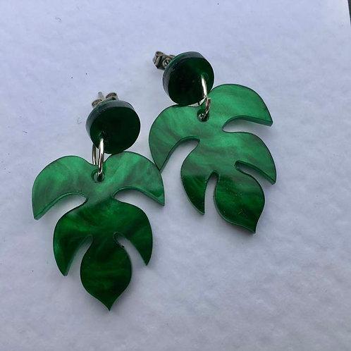 Shimmer green perspex earrings