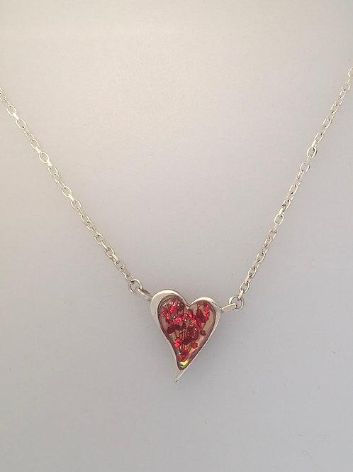 Asymmetrical loveheart necklace