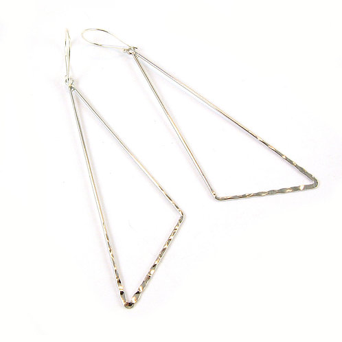 Sterling Silver Rhodium Triangle Earrings