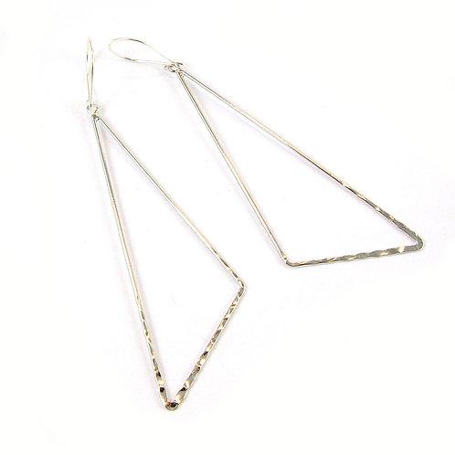 Sterling Silver Rhodium Triangle Earrings