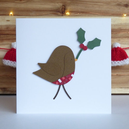 Handcrafted Robin Christmas Card