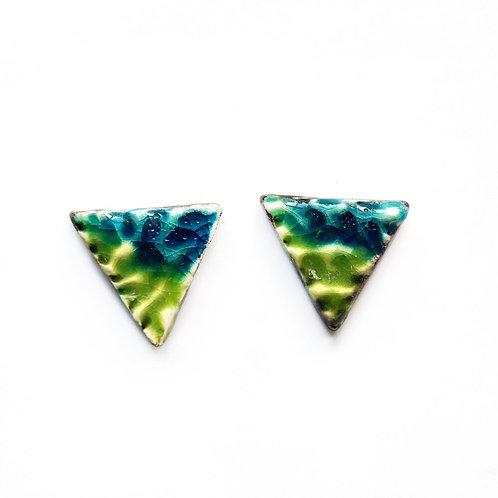 Handmade Ceramic Triangle Stud Earrings