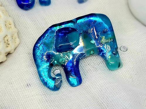 Dichroic Blue Glass Elephant Brooch