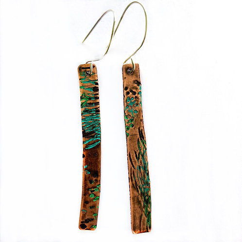 Handmade Copper Gin Still Earrings - Sticks
