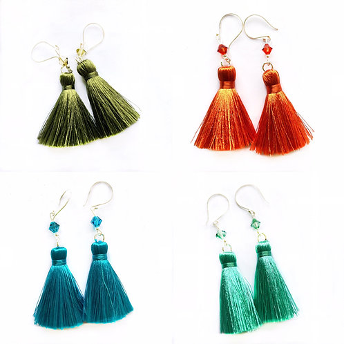 Sterling Silver Pure Silk Tassel Earrings