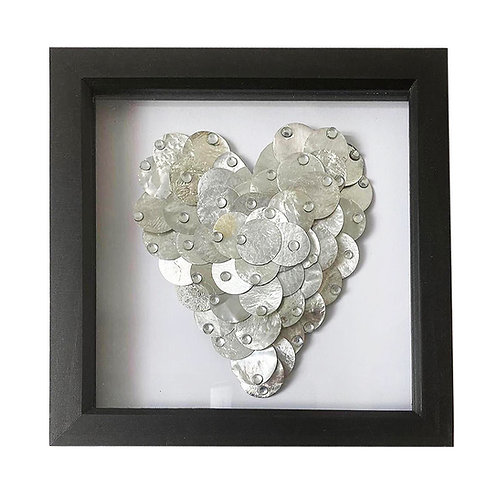 Silver heart with crystals
