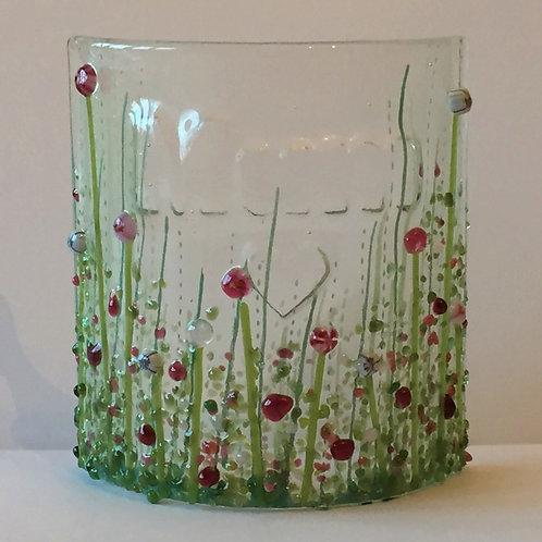 'Mum' Fused Glass Floral Curve