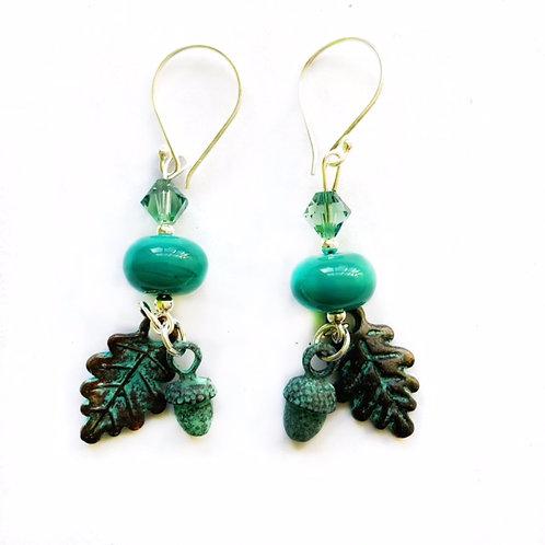 Sterling Silver Leaf & Acorn Earrings