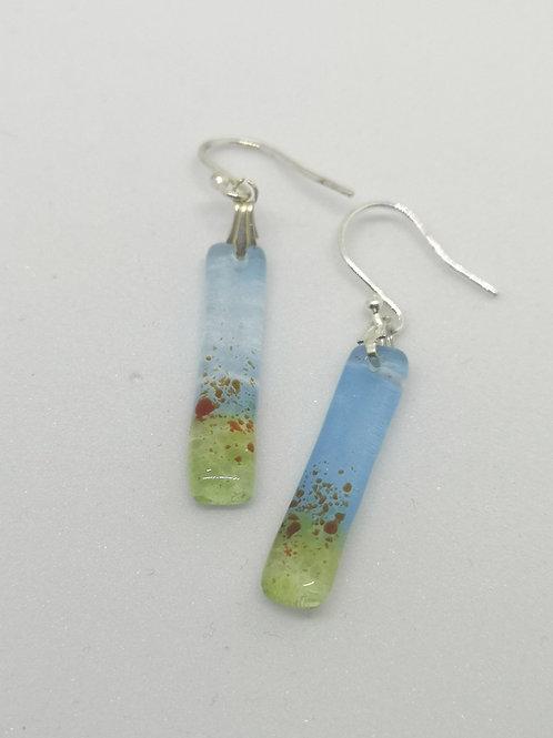 Poppy meadow earrings fused glass